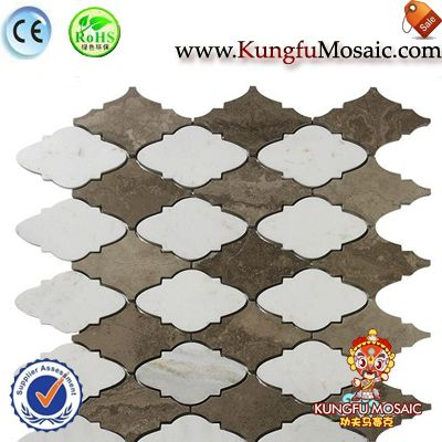 Coffee Color Wall Arabesque Marble Mosaic