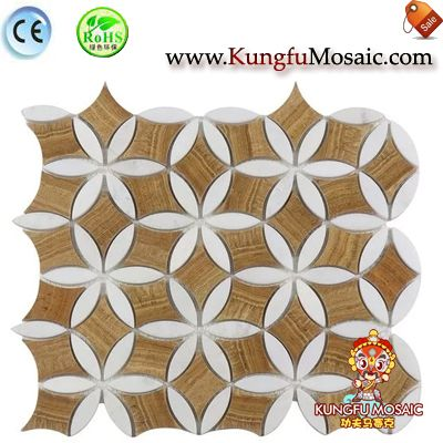 Flower Pattern Wooden Marble Mosaic