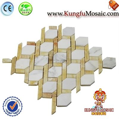 Golden Onyx Net Mosaic Marble Tile Splash