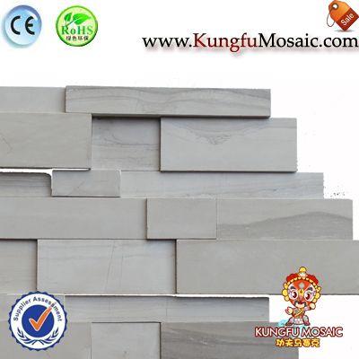 Graue Stein Mosaik Fliesen Außenwand