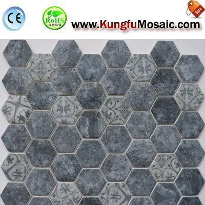 Hexagon Mosaic Marble Tile