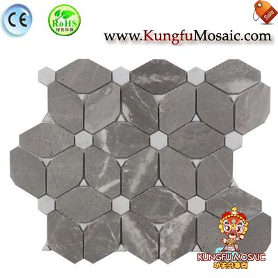 Interior Wall Flower Pattern Grey Stone Mosaic