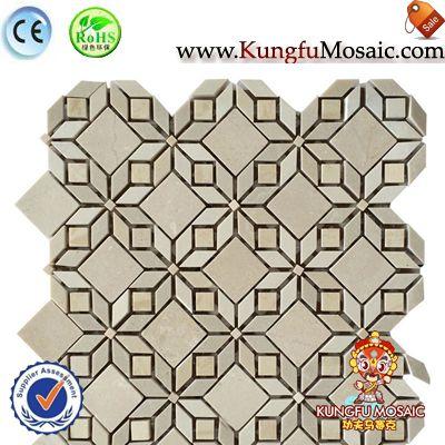 Rhombus Beige marble mosaic floor tile