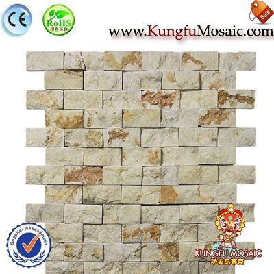 Split Yellow Limestone Mosaic Wall Tile