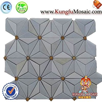 Triangle Pattern Grey Marble Mosaic
