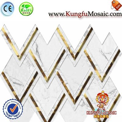 White Gold Marble Wall Mosaic Tile