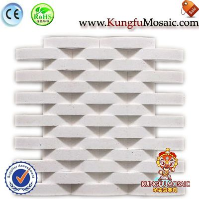 White Limestone Cross Mosaic Wall Tile