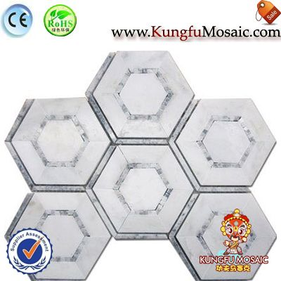 hexagon white marble mosaic floor