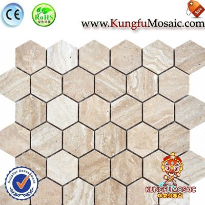 Beige Travertine Hexagon Stone Mosaic