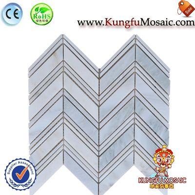 Blue Stone Mosaic Chevron Marble Tile