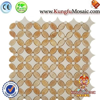 Butterfly Pattern Yellow Stone Mosaic Tile