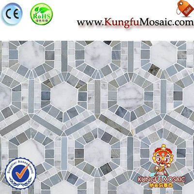 Carrara And Blue Marble Hexagon Mosaic