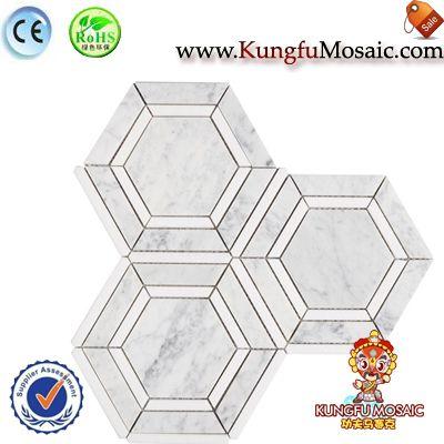 Piso de mármol blanco de Carrara mosaico hexagonal