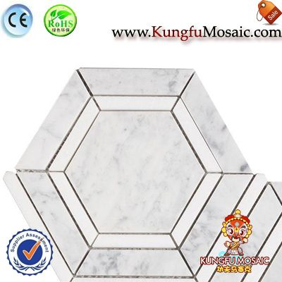 Carrara White Marble Floor Mosaic Hexagon