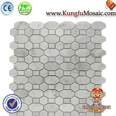 Chain Pattern Carrara Bianco Marble Mosaic