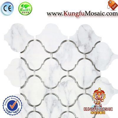 Cloudy White Arabesque Marble Mosaic