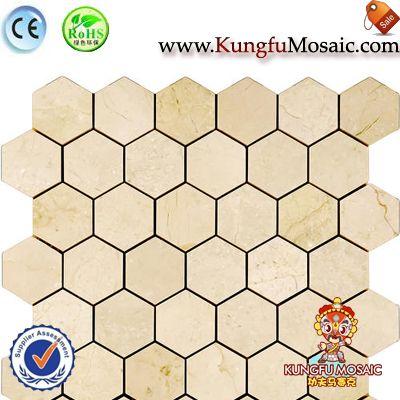 Carreaux hexagonaux de mosaïque en marbre Crema Marfil