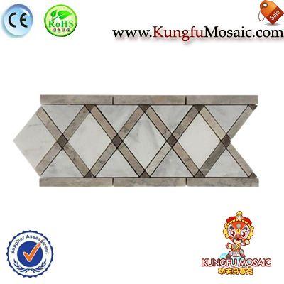 Cruz de mosaico de mármol gris red de la frontera