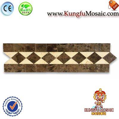 Azulejo de mármol Dark Emperador mosaico frontera