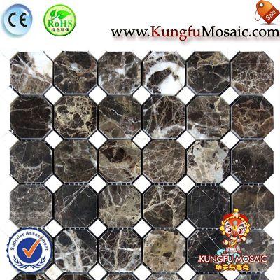 Dark Emperador Octagon Marble Mosaic