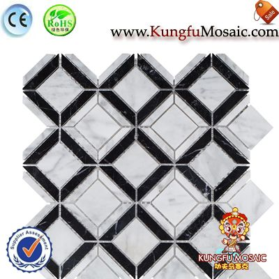 Diamond Carrara And Black Marble Mosaic