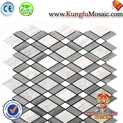 Diamond Pattern Marble Mosaic Wall Tiles
