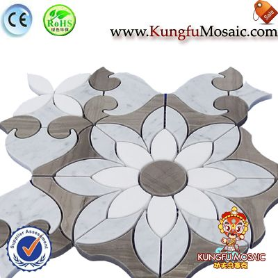 Flower Pattern Carrara Wall Mosaic Tile