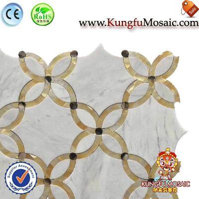 Golden Flower White Marble Bathroom Mosaic