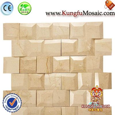 Golden 3D Brick Marble Mosaic In 15mm