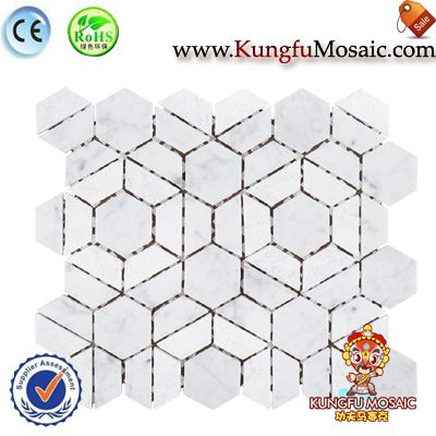 Half Hexagon White Floor Mosaic Brick