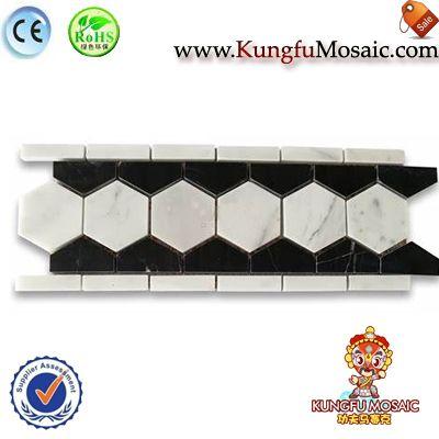 Hexagon White Black Marble Border Tiles