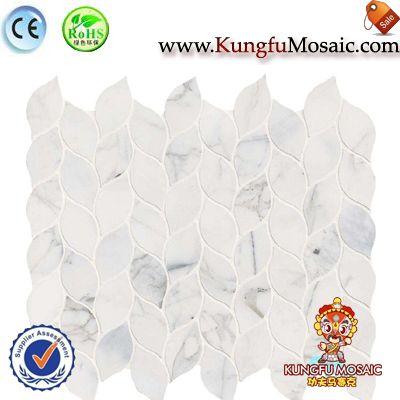 Italian Calacata Stone Mosaic Leaf Pattern
