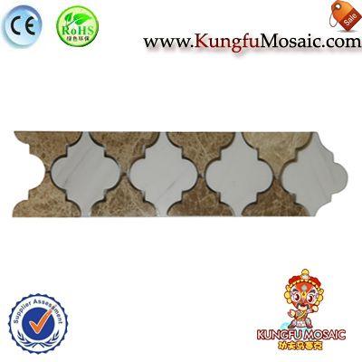 Azulejos de mosaico de frontera Mármol Beige de linterna