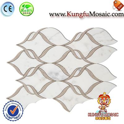 Lotus Pattern White Marble Mosaic Tiles