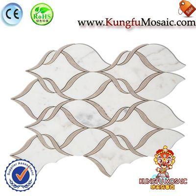 Lotus blanc de motif carreaux de mosaïque de marbre
