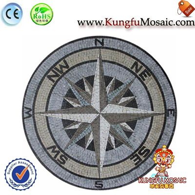 Mosaic Marble Floor Compass Medallion