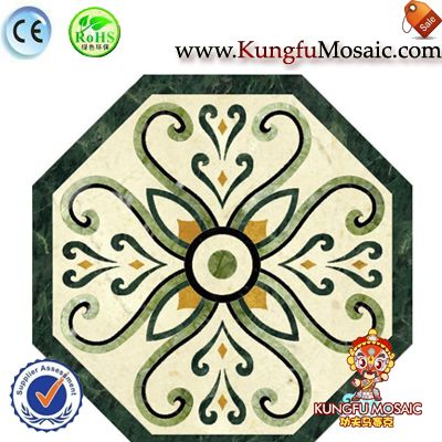 Octagon Green Marble Medallion Floor Tiles