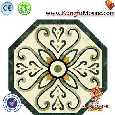 Carreaux de sol octogone médaillon en marbre vert