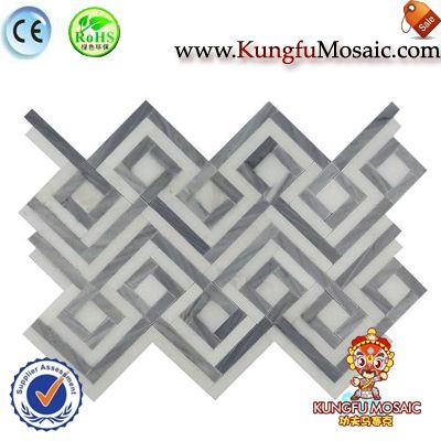 Stereoscopic Square White Stone Mosaic