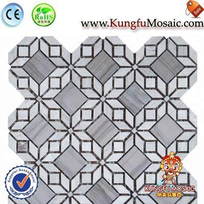 Azulejo de mosaico de piedra de mármol madera