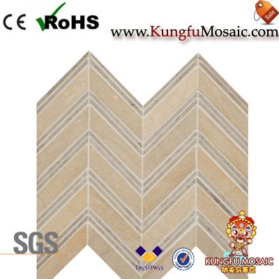 Beige Honed Chevron Marble Mosaic
