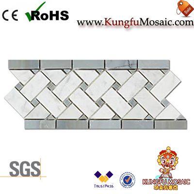 Bianco Basketweave Mosaic Border Tile