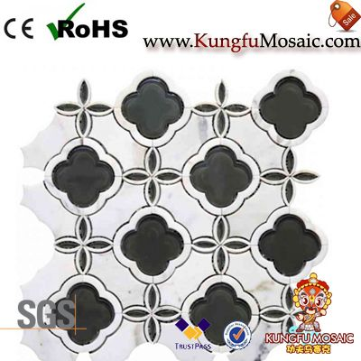 Black Flower Stone Wall Mosaic