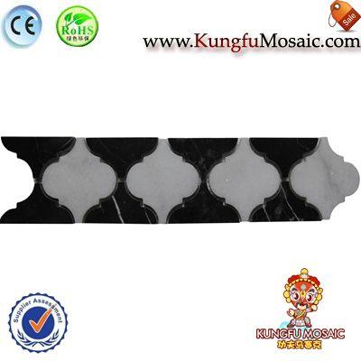 Schwarze Laterne Grenze Marmor Mosaik