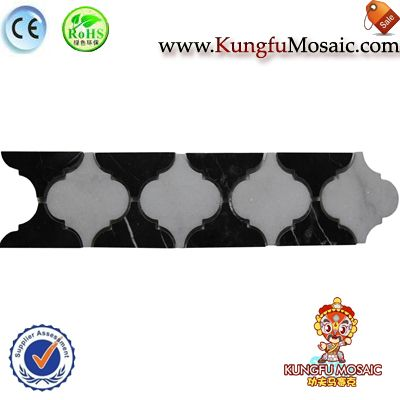 Black Lantern Marble Border Mosaic