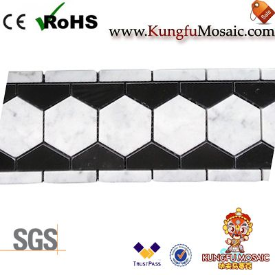 Carrera Marble Hexagon Border MosaicCarrera Marble Hexagon Border Mosaic