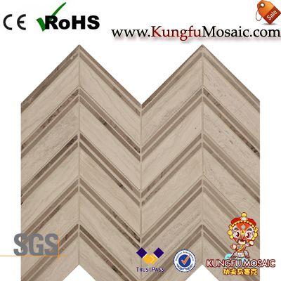 Mosaïque de marbre bois maille Chevron