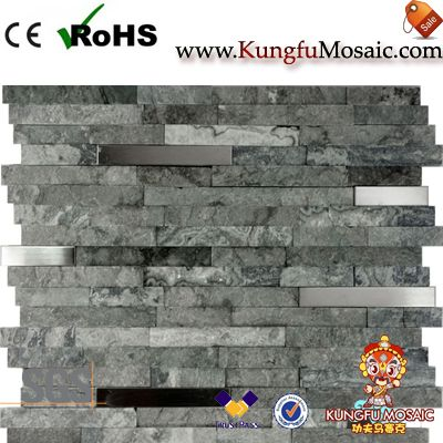 Grey Stone Mosaic With Stainless