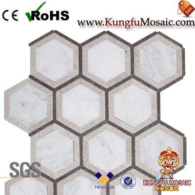 Mosaïque de marbre Bianco gris hexagone