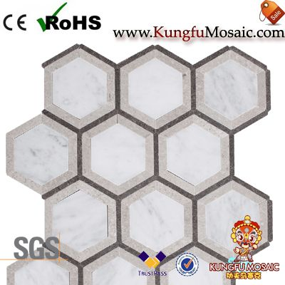 Mosaico de mármol de Bianco gris hexagonal